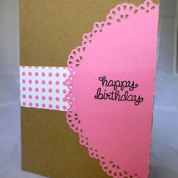 Birthday Card for Her - Hand made birthday card - pretty and pink - handstamped card