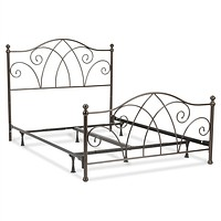 King size Complete Elegant Metal Bed Frame with Spiral Pattern Headboard and Footboard