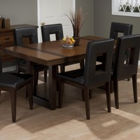 Winnifred Oak Modern Leg Dining Table Inlay Top