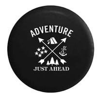 Adventure Just Ahead Camping Woods Anchor Stars Boating Hunting Outdoors RV Camper Jeep Spare Tire Cover
