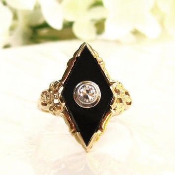 Antique Onyx & European Cut Diamond Ring Alternative Antique Engagement Ring 10K Gold Orange Blossom Filigree Diamond Wedding Ring Size 7!