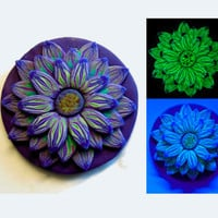 EyeGloArts Glow in the Dark and Blacklight Jewelry Psychedelic Glowing Purple Teal and White Flower Pendant #F10Dec2014