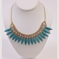 NWOT gold turquoise crystal statement bib necklace