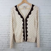 Talbots Womens Cardigan Sweater Size L Ivory with Brown Polka Dots Lace Trim