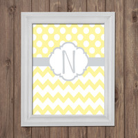 Yellow Gray Nursery Custom Monogram Wall Art Girl Nursery Decor Polka Dot Chevron Personalized Family Name Monogram Wedding Gift One Print