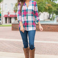 Plaid Persuasion Top, Pink-White