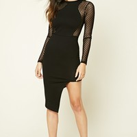 Asymmetrical Mesh-Panel Dress