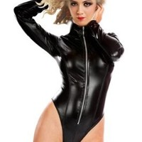 Amour- Sexy Gothic Punk Zipper Front Wetlook Romper Overall Teddy Stripper (P7612)