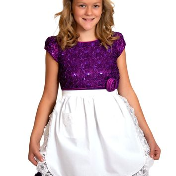 Dutch Girls Aprons White Lace Half Apron (Ages 4-16) Maids Apron