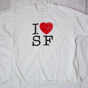 "13-1125 Men's I ""heart"" SF T Shirt / San Francisco Souvenir T Shirt / Souvenir / San Francisco / T Shirt / California T Shirt / Size L"