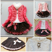 Toddler/Children Girls 3Pcs Outfit Set Formal Casual Outfit
