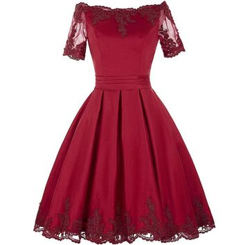 Short Sleeve Evening Dresses Champagne Red Lace Gowns Mother Of The Bride Dresses Bridal Dress Formal Gown