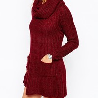 Stitch & Pieces Slouchy Roll Neck Swing Dress with Pockets