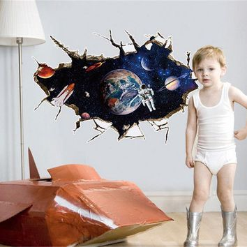 Astronauts Solar System Wall Stickers Kids Rooms