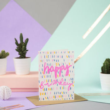 Neon Birthday Doodle Card