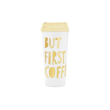 BAN.DO DELUXE HOT STUFF THERMAL MUG - BUT FIRST COFFEE - METALLIC GOLD
