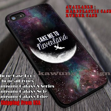 Take Me To Neverland, Peterpan, Quote, Never Grows Up, Nebula, Galaxy, Disney, case/cover for iPhone 4/4s/5/5c/6/6+/6s/6s+ Samsung Galaxy S4/S5/S6/Edge/Edge+ NOTE 3/4/5 #cartoon #animated #disney #peterpan ii