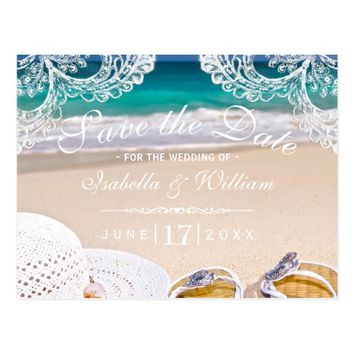 Turquoise Ocean Beach Save the Date Invitation Postcard