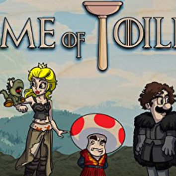 'Game of Toilets' Funny Video Game & TV Show Parody - Plywood Wood Print Poster Wall Art