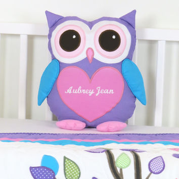 Owl  Pillow,  Baby Owl,  Monogram Pillow,  Custom Owl Cushion, Custom Owl Pillowcase, Pink Purple Stuffed Owl