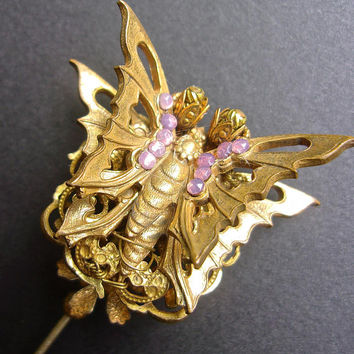 STANLEY HAGLER Stick Pin Glass Fire Opal Layered, Butterfly Brass Filigree, Vintage