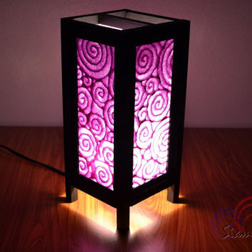 Paper Lamp Purple Spiral Wooden Table Lantern Halloween Decoration