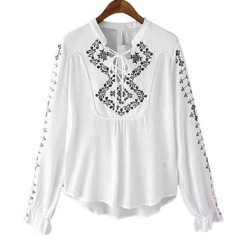 White Floral Pattern Lace-up Blouse
