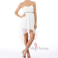 A-line Strapless Asymmetrical Lace Cocktail Dress With Sequin at Msdressy