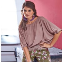 Lace Patchwork large size loose bat sleeves T - shirt B0015480