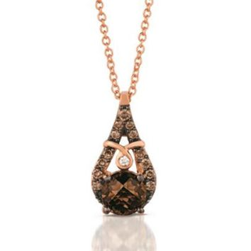 Le Vian® Round Cut Chocolate Quartz® Pendant Set in 14K Strawberry Gold®