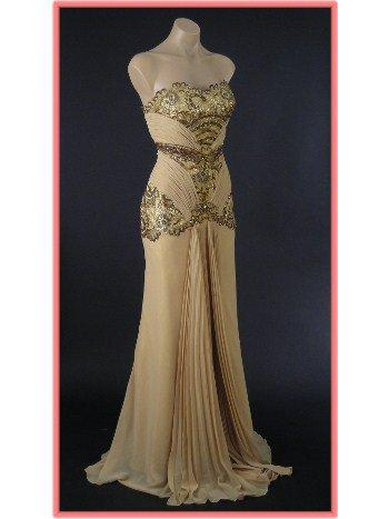 Old Hollywood Glamour Gold Vintage Inspired Evening Gown-Vintage Style Prom Dresses