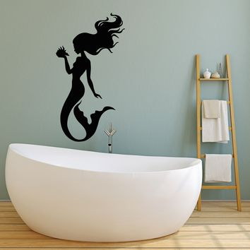 Vinyl Wall Decal Silhouette Beautiful Mermaid Shell Stickers (2278ig)