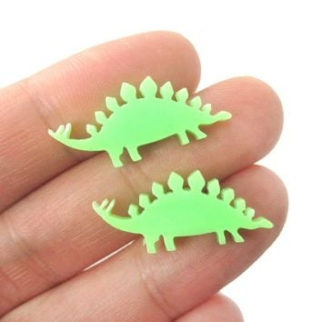 Stegosaurus Silhouette Dinosaur Shaped Laser Cut Stud Earrings in Green