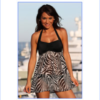 Sheer Zebra Swim Dress