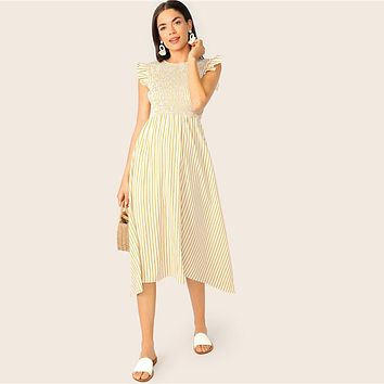 Ruffle Armhole Striped Smocked Maxi Dress Women Boho Vacation Sleeveless High Waist  Dress Yellow A Line Long Dress