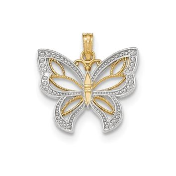 14k Two-tone Gold Polished 3-d Beaded Butterfly With Wings Pendant