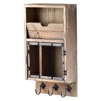 Casey Industrial Reclaimed Wood Farmhouse Wall Storage Organizer