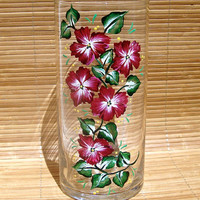 Hand Painted Vase With Red and White Flowers, Unique Gift Ideas