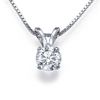 Round Diamond Pendant Necklace with 0.40ct Real Diamond in 14k White Gold