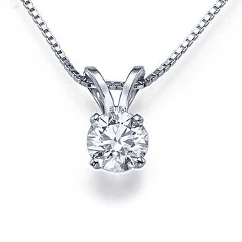 0.25ct Classic 4-Prong Solitaire Diamond Solitaire Pendant Necklace in 14k White Gold