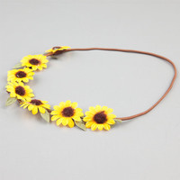 Full Tilt Sunflower Suede Headband Yellow One Size For Women 24187160001