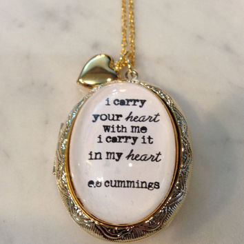 ee cummings poetry. I Carry Your Heart With Me Golden Locket and Charms