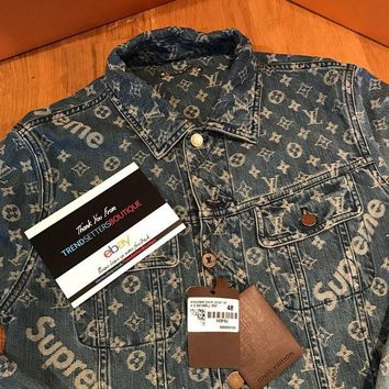 LOUIS VUITTON x SUPREME trendy denim jacket jacket F