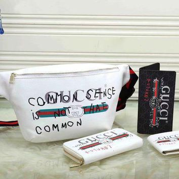 DCCK GUCCI Fashion Waist Bag Wallet Purse Clutch bag Set Four Piece