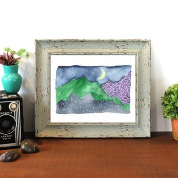 Mountain Watercolor, Crescent Moon, Abstract Mountain, 8x10, Starry Night, Purple, Mountain Decor, Nature Art Stars Wall Art, Outdoors