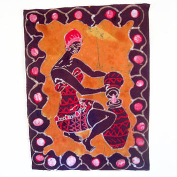 African Woman Gathering Water - Orange Batik Wallhanging