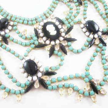 The Marissa Necklace - Vintage 1950s Hand Painted Turquoise Cameo Bib Necklace - One Of  A Kind