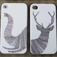 elephant/deer Impact lovers Case for iphone 4/4s