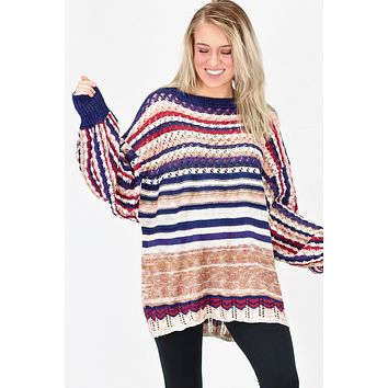 Oversized, Mixed Stripe Crochet Knit Sweater {Navy}