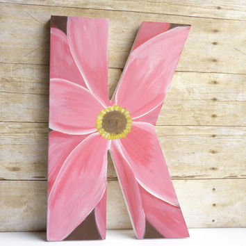 Large Letter Wall Decor, Wood Wall Art, 10 x 15 Custom Decorative Letter - Wooden Wall Letter with Acrylic Painting of Flower Art